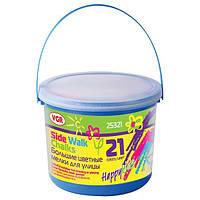 Мел цветной VGR 25321, 21шт. в пластиковом ведре с крышкой