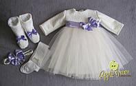 """Нарядное платье с цветным поясом """"Фурор"""""""