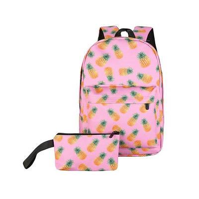 Рюкзак женский Ананасы + Пенал (розовый)