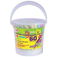 Мел цветной VGR 25361, 60 шт. в пластиковом ведре с крышкой