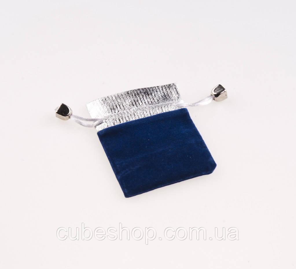 Мешочек бархатный синий с серебром 9х6 см
