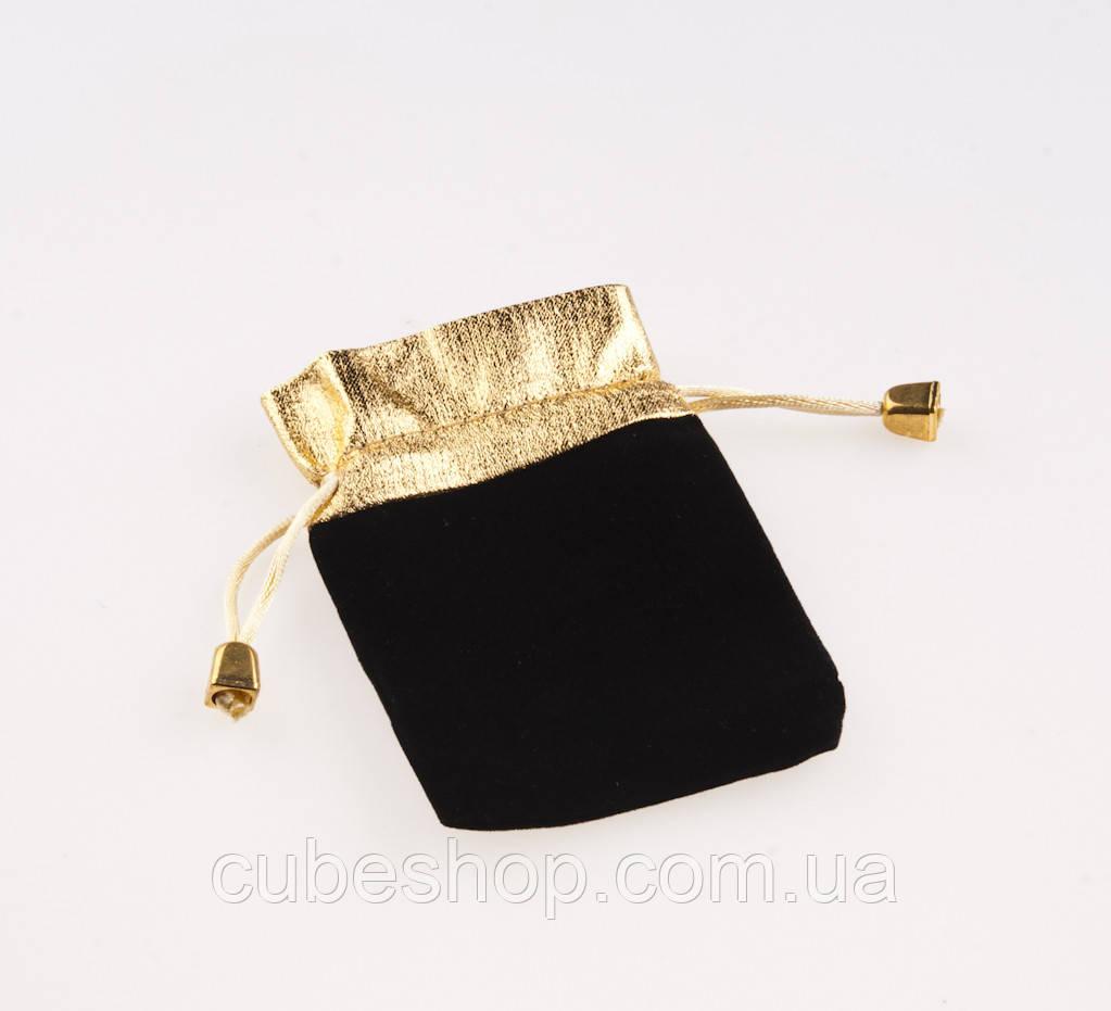 Мешочек бархатный черный с золотом 9х6 см
