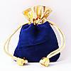 Мешочек бархатный синий с золотом 9х6 см