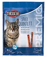 Лакомство Trixie Premio Stick Quintett для кошек с лососем и форелью, 5 шт