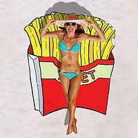 Пляжная подстилка / Пляжный коврик  / Пляжное полотенце / Парео Картошка Фри полиэстер 114 * 104 см