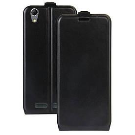 Чехол книжка для Lenovo K10e70 вертикальный флип, Гладкая кожа, черный
