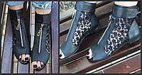 Стильные молодежные кожаные черные босоножки открытым носком и гипюровой вставкой. Арт-0650