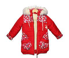 Пальто детское на овчине для девочки Рукавичка