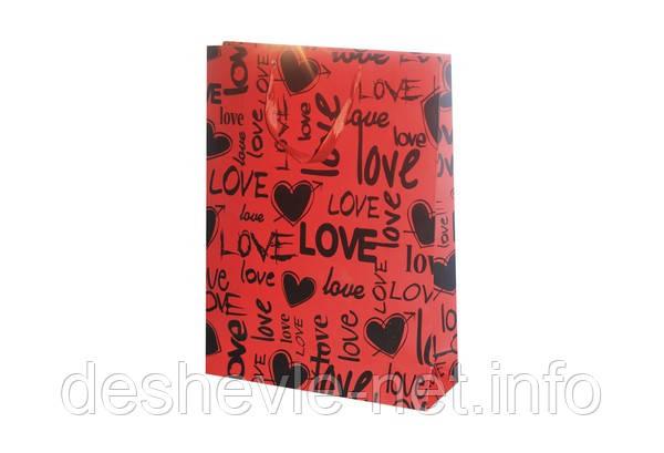 Пакет картонный LOVE 42х31х11см с фольгой цвета: красный/черный, фото 2