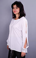 Эльвира. Блуза для офиса больших размеров. Белый+горох.
