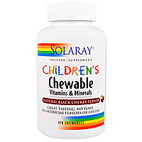Детские натуральные жевательные витамины 120 таб  (вкус вишни) Solaray USA