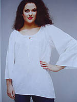Блуза  туника белая с шитьем вышивкой