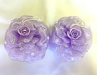 Банты ручной работы, сиреневая роза с бусинами, диаметр 10 см
