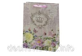 Пакет картонный 250 грамм, цветы, фольга с 1-й стороны, 31,8*25,5*10,8см