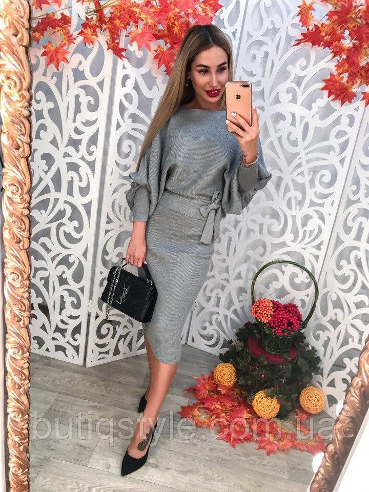 Женский вязанный серый костюм комплект: юбка и кофта, машинная вязка