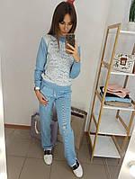 Костюм стильный вязаный женский свитшот с кружевом и брюки разные цвета Df609