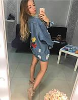 Женская джинсовая куртка с вышивкой  размер М