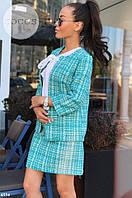 Женский костюм пиджак с юбкой в клетку. Ткань: букле. Размер: смл. Цвет: мята, черный, розовый.