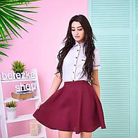 Костюм женский модный белая рубашка и пышная юбка мини разные цвета 6Kb548
