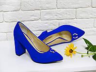 Туфли синий электрик из натуральной замши  на устойчивом каблуке с острым носком