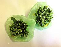 Банты ручной работы на резинке, зеленая хризантема, диаметр 7,5 см