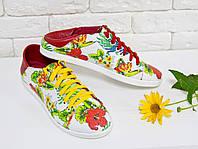 Кеды с мягкой пяткой  в расцветке цветы гуччи