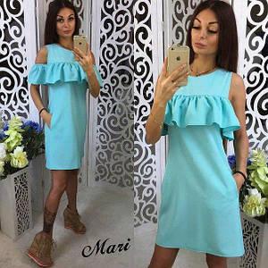 Платье с воланом и карманами Глори мятный  , платья интернет