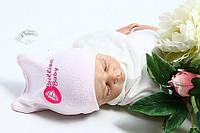 """Шапочка для новорожденных """"Brilliant Baby"""" (розовая рибана)"""