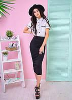 Костюм женский модный белая рубашка и юбка карандаш миди 6Kb549