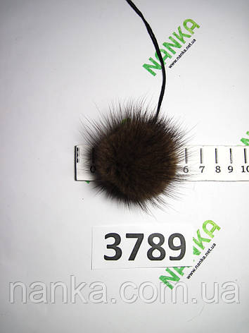 Меховой помпон Норка, Коричневый, 5 см, 3789, фото 2