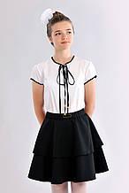 Красивая черная детская подростковая юбка-воланы для школы