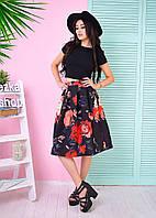 Костюм женский стильный топ и пышная юбка миди 3 расцветки Kb550