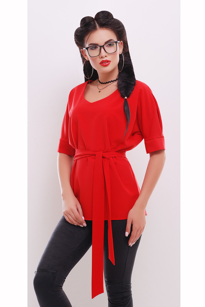 Блуза свободного силуэта с коротким рукавом под пояс «Мелиса»