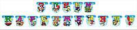 """Гирлянда бумажная """"З Днем Народження"""" герои мультфильмов голубая"""