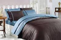 Комплект постельного белья тм First Choice Kahve-Mavi