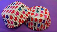 Тарталетки (капсулы) бумажные для кексов, капкейков Цветные сердечки (1000 шт)