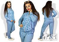 Женский спортивный костюм двунитка+гипюр  размеры 48,50,52,54