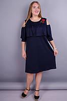 Окси. Оригинальное платье с цветами большие размеры. Синий.