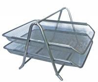 Лоток горизонтальный металлическая сетка 2 отделения серебро ВМ 6250-24 12шт/уп