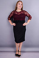 Романтика. Гипюровое платье плюс сайз. Черный+бордо.