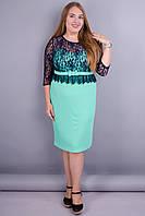 Романтика. Нежное женское платье большие размеры. Мята+синий.