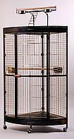 Угловой вольер для средних и крупных попугаев 94х63х160 см