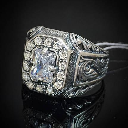 Срібний чоловічий перстень з фіанітами, 12 грам, фото 2