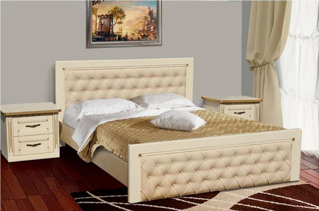 Кровать двуспальная Freedom слоновая кость+патина золото