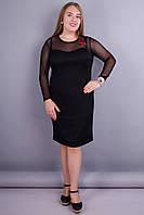 Илона. Черное женское платье с цветочной аппликацией. Черный.