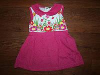Детское платье в горошек малиновое