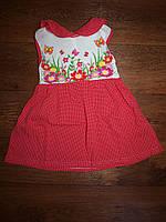 Детское красное платье горох, цветы
