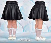 Юбка нарядная школьная для девочки черная эко кожа стежка