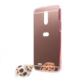 Чехол бампер для LG Stylus 3 M400DY металлический со съемной зеркальной крышкой, золотисто-розовый