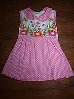 Детское платье розовое горох, цветы